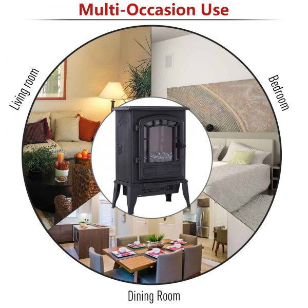 "HOMCOM Freestanding 1500W Steel Electric Fireplace Stove Space Heater Infrared LED, 9.5"" W, Black 2"