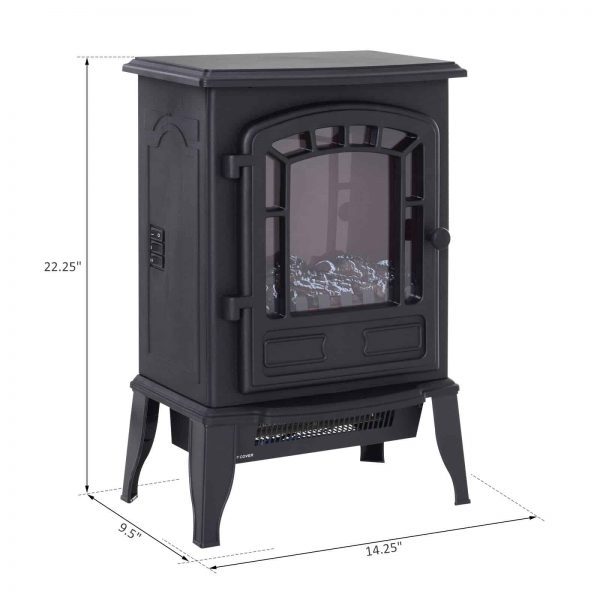 "HOMCOM Freestanding 1500W Steel Electric Fireplace Stove Space Heater Infrared LED, 9.5"" W, Black 4"