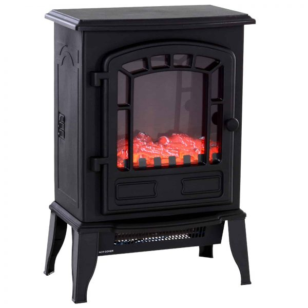 HOMCOM Freestanding 1500W Steel Electric Fireplace Stove Space Heater Infrared LED
