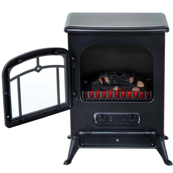 "HOMCOM Freestanding Electric Fireplace Heater with Realistic Flames, 21"" H, 1500W, Black 4"