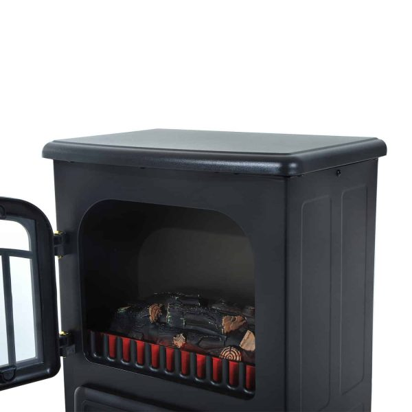 "HOMCOM Freestanding Electric Fireplace Heater with Realistic Flames, 21"" H, 1500W, Black 5"