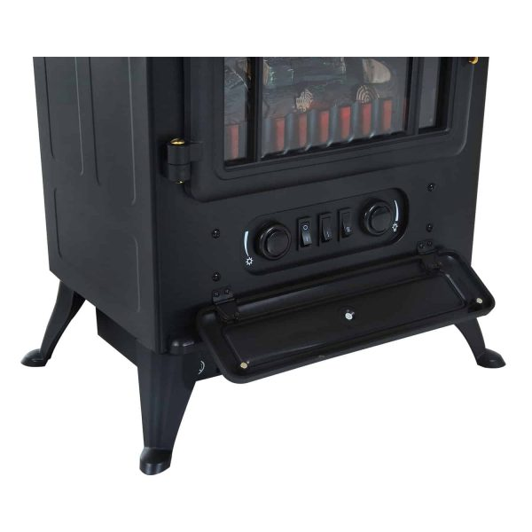 "HOMCOM Freestanding Electric Fireplace Heater with Realistic Flames, 21"" H, 1500W, Black 6"