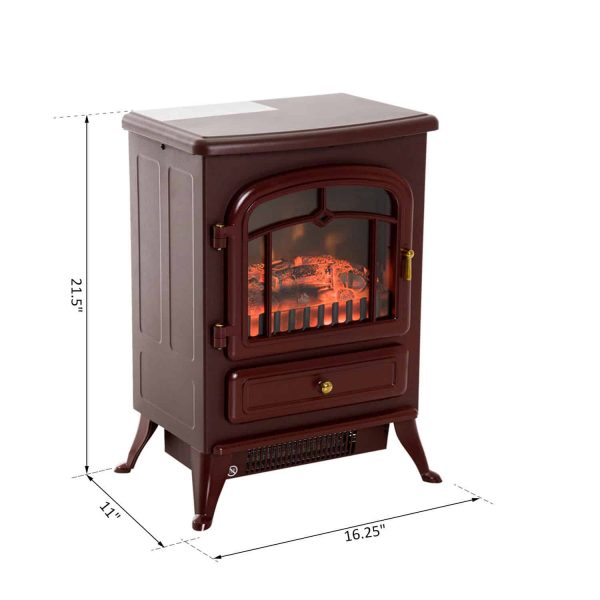 "HOMCOM Freestanding Electric Fireplace Heater with Realistic Flames, 21"" H, 1500W, Burnt Sienna 3"