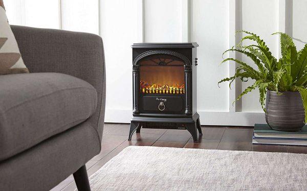 Hamilton Free Standing Electric Fireplace Stoveby e-Flame USA - Black 1