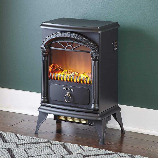 Hamilton Free Standing Electric Fireplace Stoveby e-Flame USA - Black 2