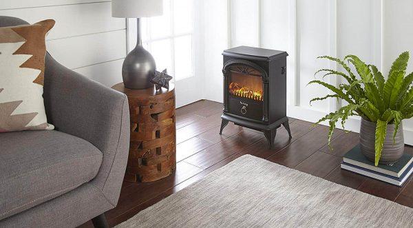 Hamilton Free Standing Electric Fireplace Stoveby e-Flame USA - Black 3