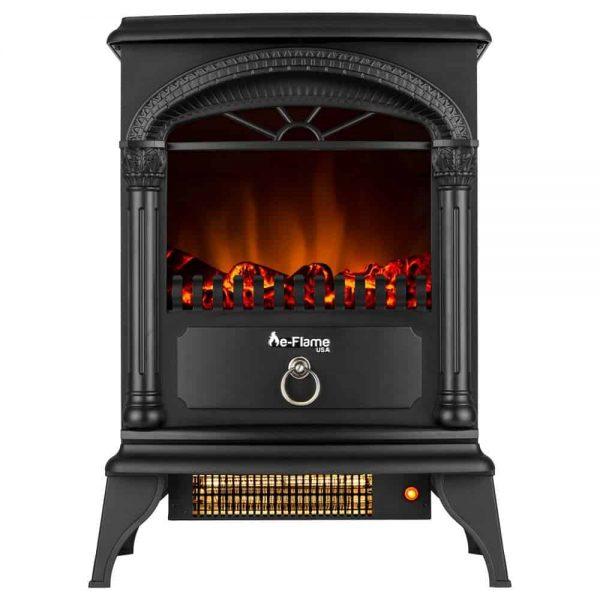 Hamilton Free Standing Electric Fireplace Stoveby e-Flame USA - Black