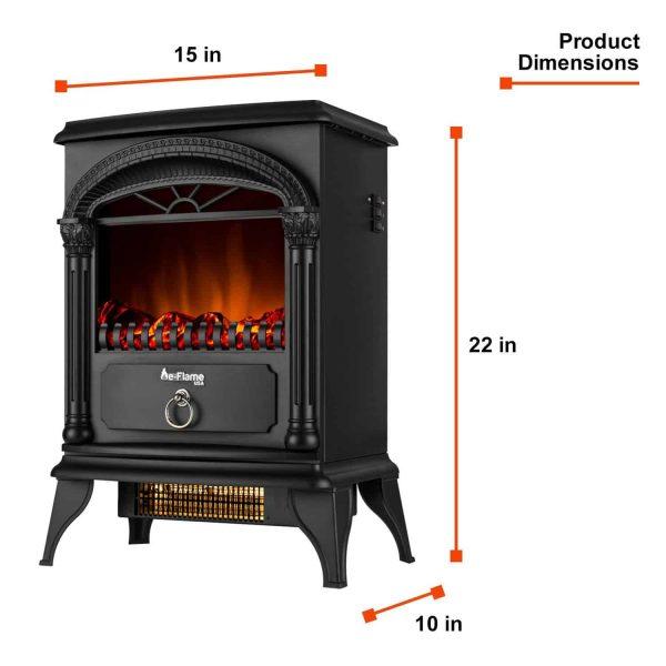 Hamilton Free Standing Electric Fireplace Stoveby e-Flame USA - Black 7