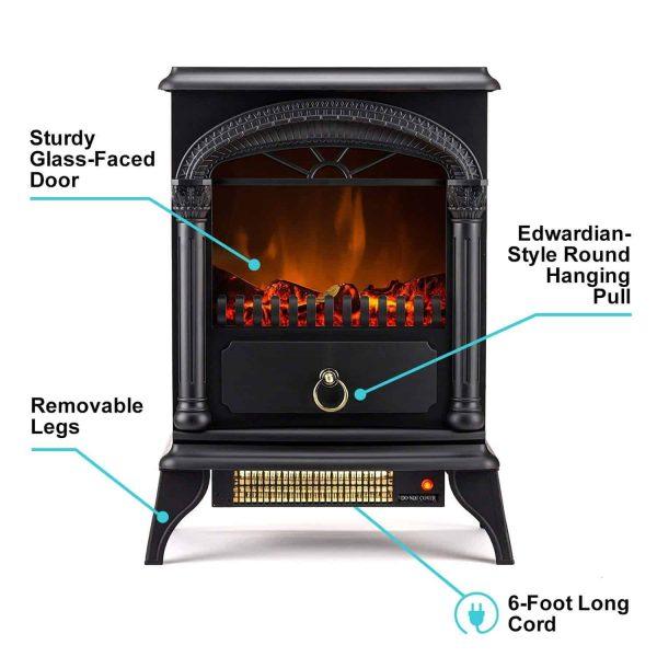 Hamilton Free Standing Electric Fireplace Stoveby e-Flame USA - Black 9