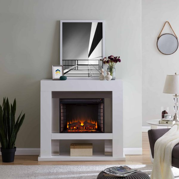 Harkwell Stainless Steel Electric Fireplace by River Street Designs