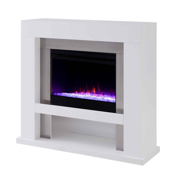 Harkwell Stainless Steel Fireplace with Color Changing Firebox by River Street Designs 12