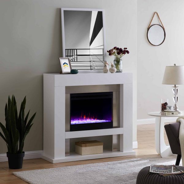 Harkwell Stainless Steel Fireplace with Color Changing Firebox by River Street Designs 4