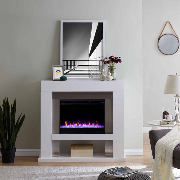 Harkwell Stainless Steel Fireplace with Color Changing Firebox by River Street Designs