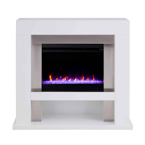 Harkwell Stainless Steel Fireplace with Color Changing Firebox by River Street Designs 9