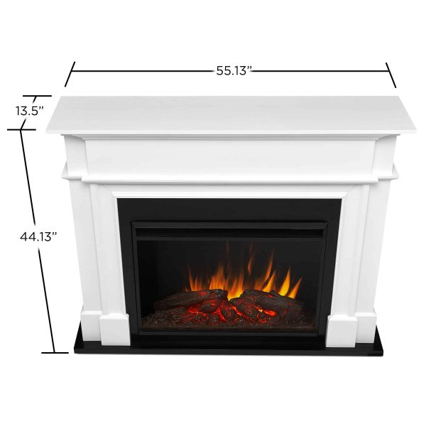 Harlan Grand Electric Fireplace White by Real Flame 3