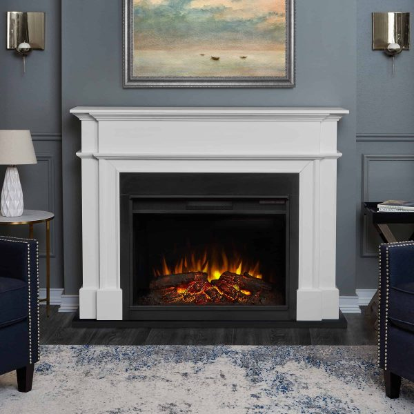 Harlan Grand Electric Fireplace White by Real Flame