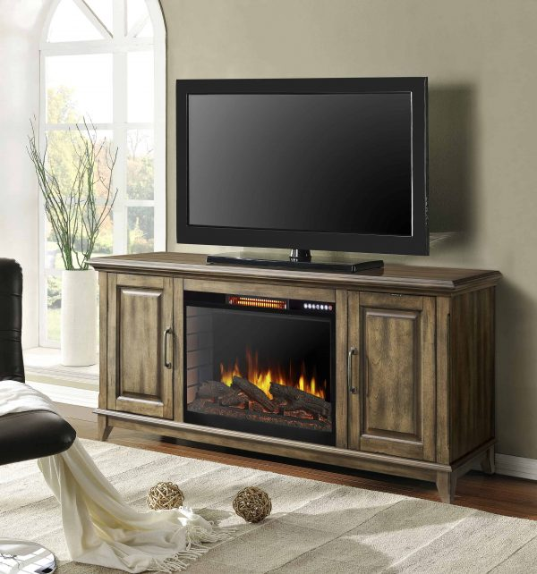 Harlow 60-in Electric Fireplace with Bluetooth in Antique Pine Finish 1