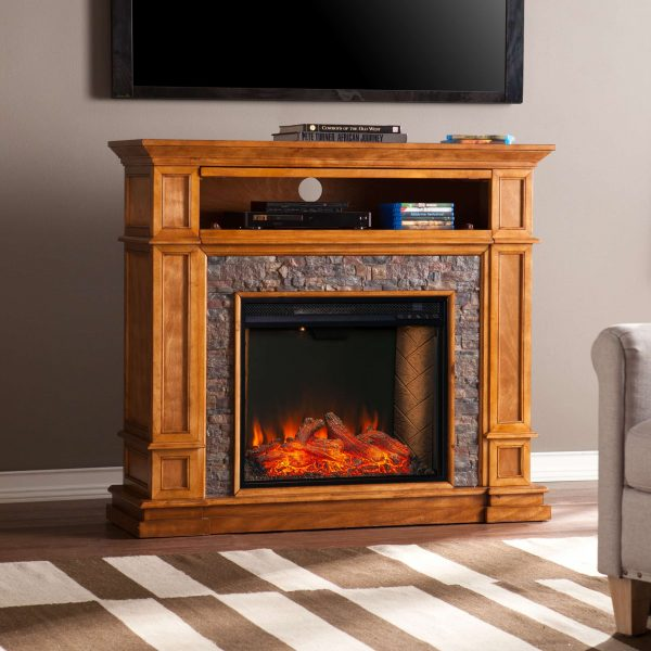 Harolinn Smart Media Fireplace w/ Faux Stone 1