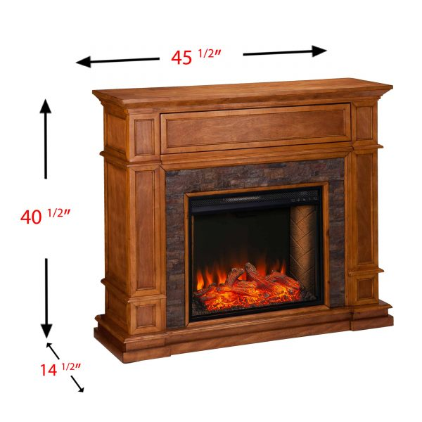 Harolinn Smart Media Fireplace w/ Faux Stone 2