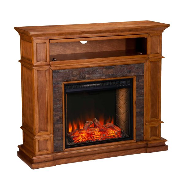 Harolinn Smart Media Fireplace w/ Faux Stone 3