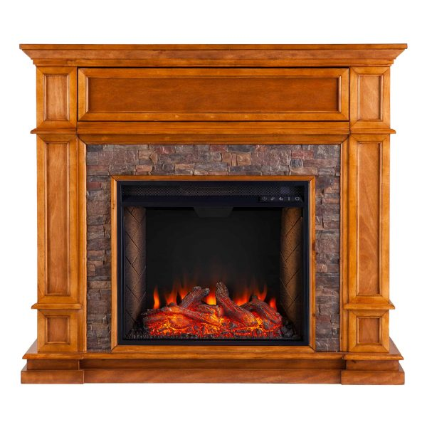 Harolinn Smart Media Fireplace w/ Faux Stone 4