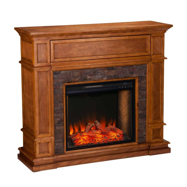 Harolinn Smart Media Fireplace w/ Faux Stone 6