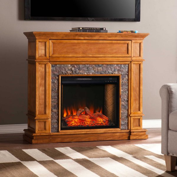 Harolinn Smart Media Fireplace w/ Faux Stone
