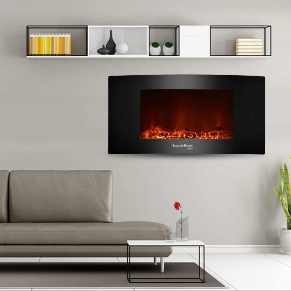 "Harper&Bright Designs 35"" Fireplace Heater Wall Mounted Electric Fireplace Space Heated with Remote 1"