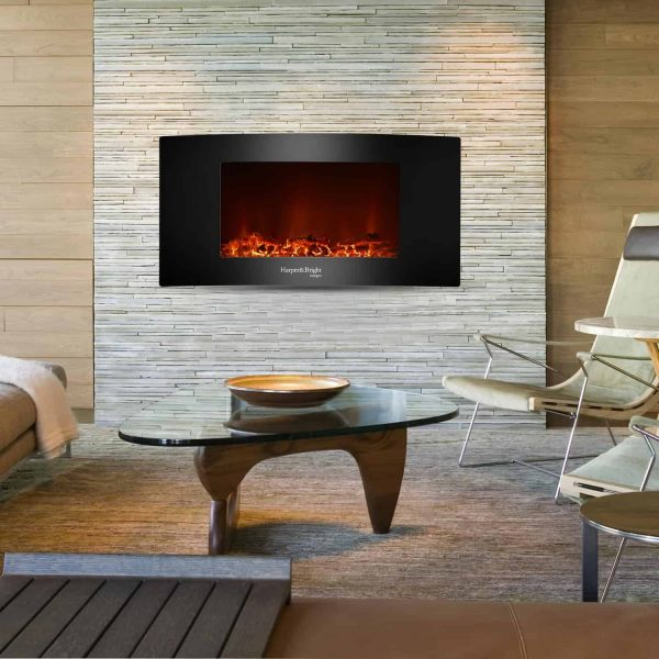 """Harper&Bright Designs 35"""" Fireplace Heater Wall Mounted Electric Fireplace Space Heated with Remote 3"""
