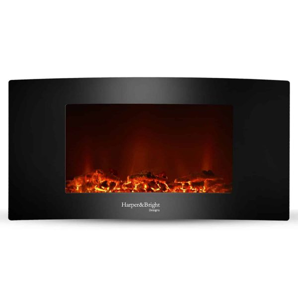 "Harper&Bright Designs 35"" Fireplace Heater Wall Mounted Electric Fireplace Space Heated with Remote"