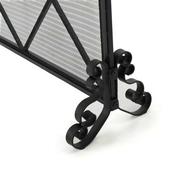 Hayden Single Panel Iron Fire Screen, Black 2