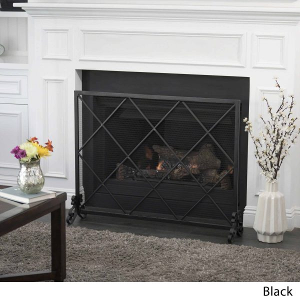 Hayden Single Panel Iron Fire Screen, Black 3