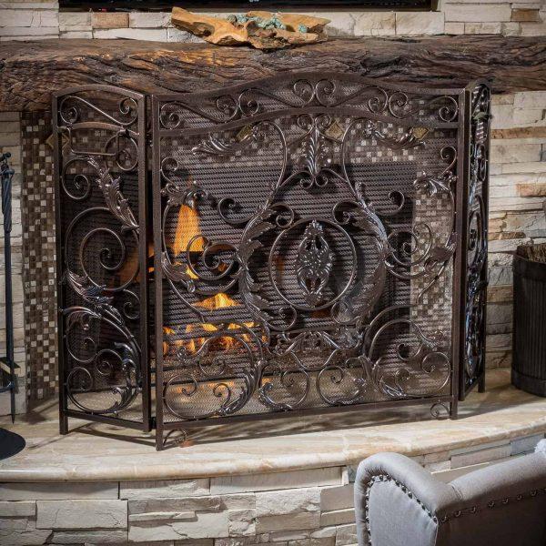 Hayward 3 Panel Iron Fireplace Screen 1