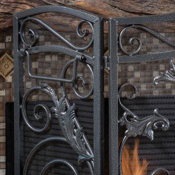 Hayward 3 Panel Iron Fireplace Screen 2