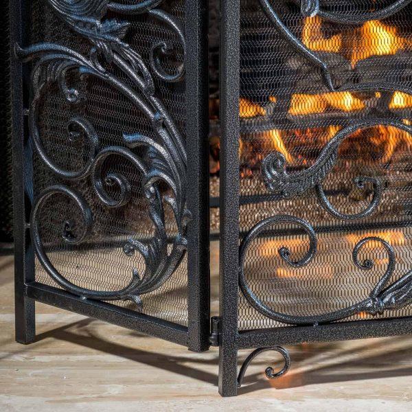 Hayward 3 Panel Iron Fireplace Screen 3