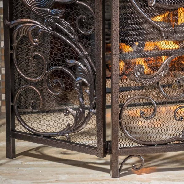 Hayward 3 Panel Iron Fireplace Screen 5