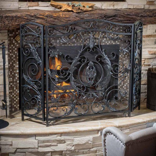 Hayward 3 Panel Iron Fireplace Screen