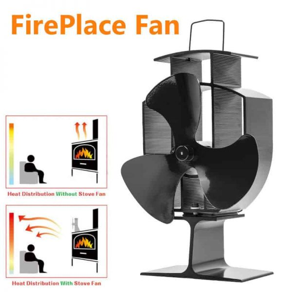 Heat Stove Fan for Wood Burners Multi Fuel Ovens Gauge 3-Blade Fireplace Powered 1