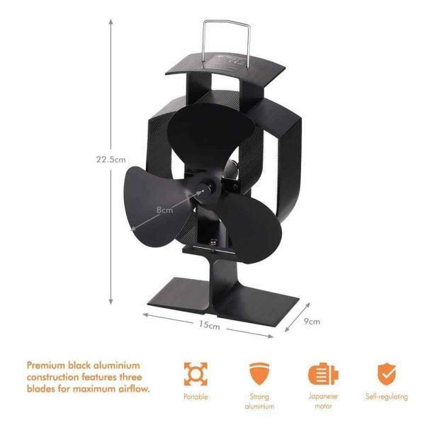 Heat Stove Fan for Wood Burners Multi Fuel Ovens Gauge 3-Blade Fireplace Powered 6