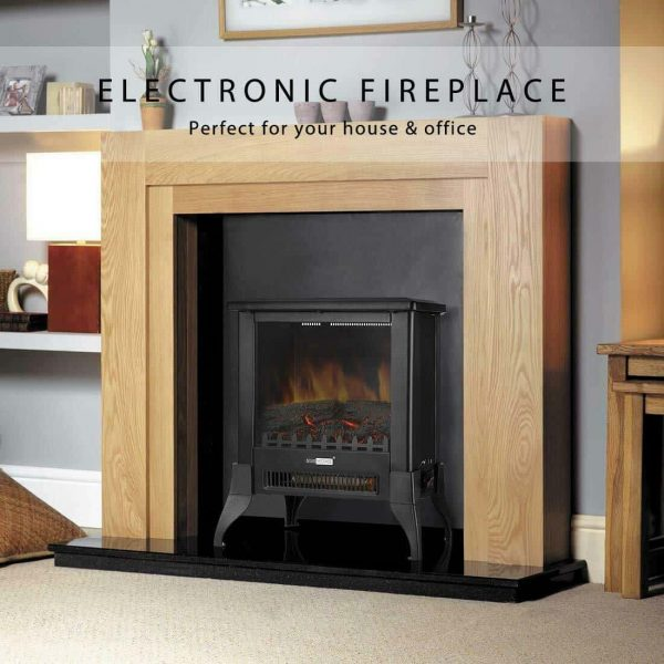 Height Freestanding Electric Fireplace Stove Heater with Realistic 3D Dancing Flame Effect 17 Inch 1