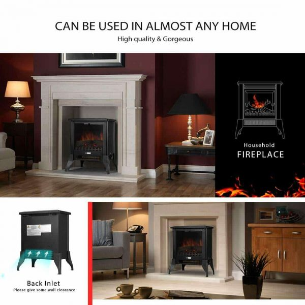 Height Freestanding Electric Fireplace Stove Heater with Realistic 3D Dancing Flame Effect 17 Inch 3