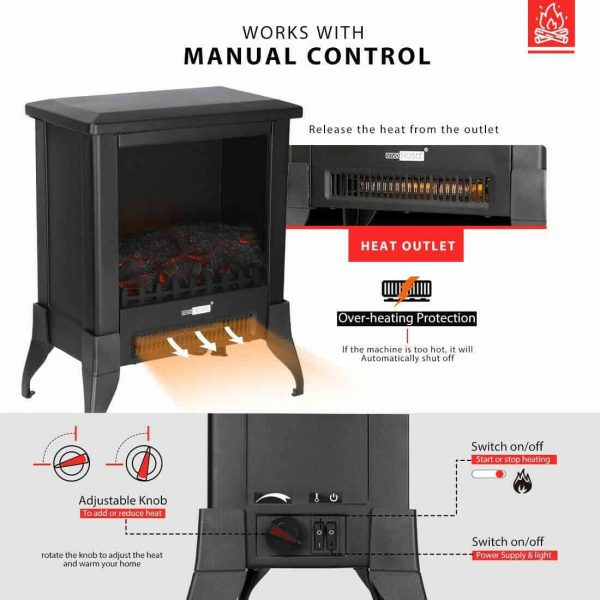 Height Freestanding Electric Fireplace Stove Heater with Realistic 3D Dancing Flame Effect 17 Inch 4