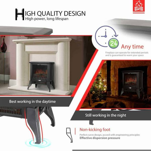 Height Freestanding Electric Fireplace Stove Heater with Realistic 3D Dancing Flame Effect 17 Inch 5