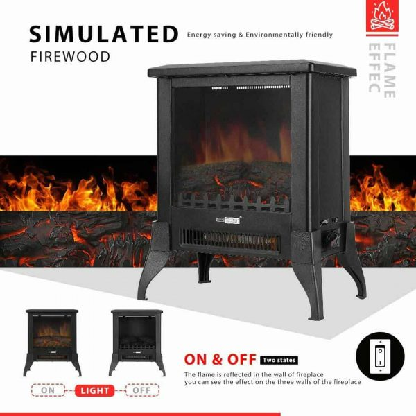 Height Freestanding Electric Fireplace Stove Heater with Realistic 3D Dancing Flame Effect 17 Inch