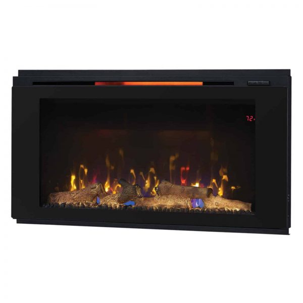 "Helen 36"" Wall Mounted Electric Fireplace, Black 1"