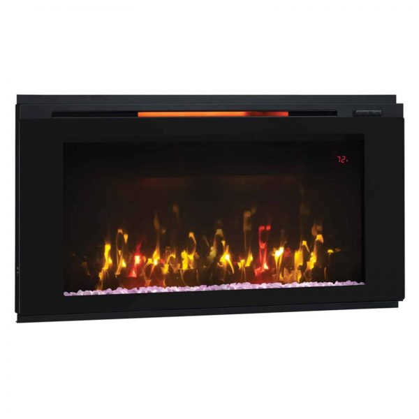 "Helen 36"" Wall Mounted Electric Fireplace, Black 2"