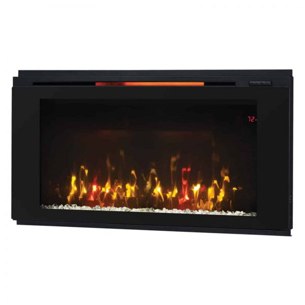 "Helen 48"" Wall Mounted Electric Fireplace, Black 1"