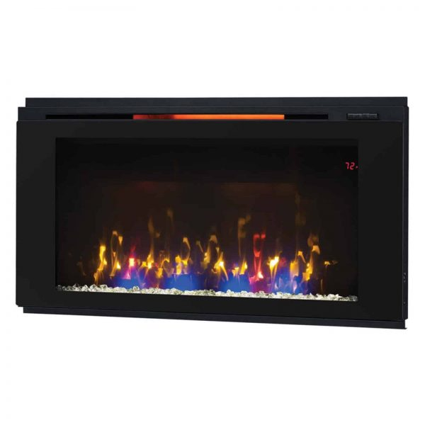 "Helen 48"" Wall Mounted Electric Fireplace, Black 3"