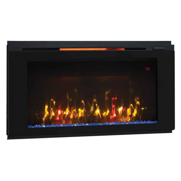 "Helen 48"" Wall Mounted Electric Fireplace, Black 4"