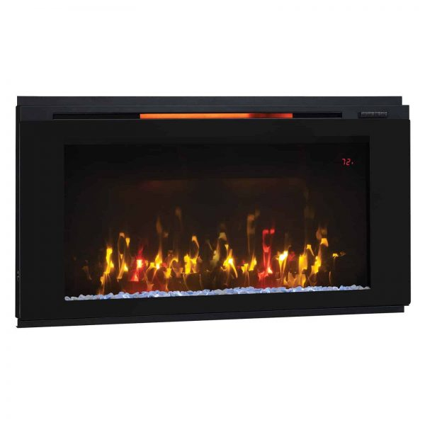 "Helen 48"" Wall Mounted Electric Fireplace, Black 6"